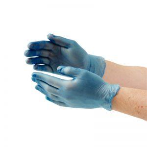 Blauwe Vinyl handschoenen gepoederd